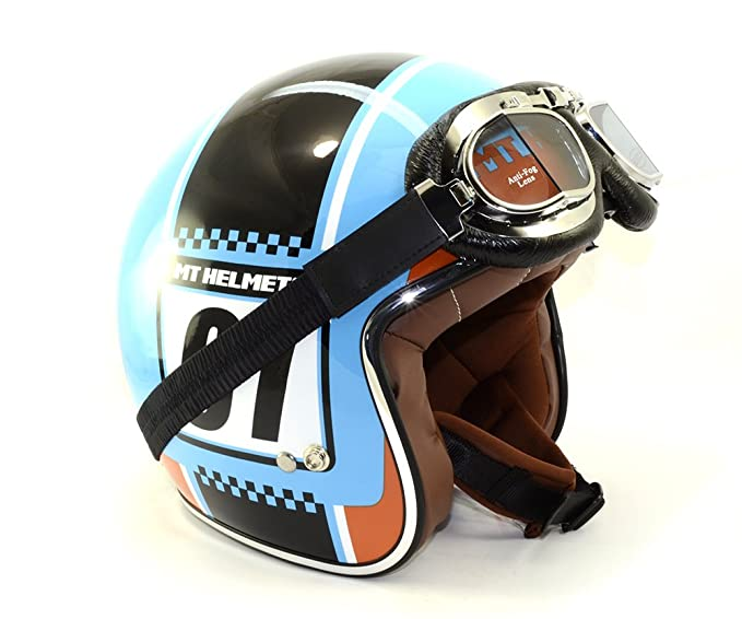 Amazon.es: MT - Casco Jet Le Mans SV Numberplate Estilo Vintage + Gafas de REGALO (L)