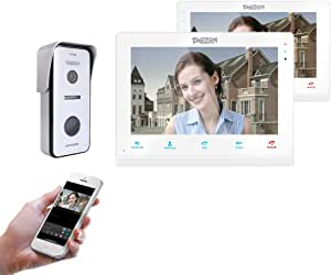 """TMEZON 10"""" Wireless Video Doorbell Intercom WIFI IP Door Phone Montion Detection Entry System with 1x720P Security Camera Kit Night Vision,Remote unlocking,Talking,Recording,Snapshot (10""""+7"""" Monitor, 1x 10"""" Monitor+1x 7"""" Monitor+1 Doorbell-White)"""