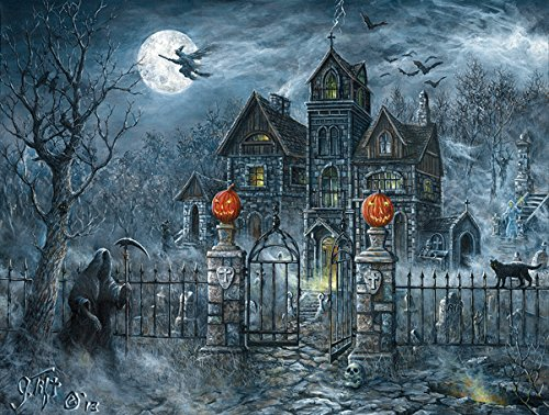 SunsOut Uninvited Guest Halloween 500 pc Jigsaw Puzzle Halloween Pumpkin Trick or Treat -