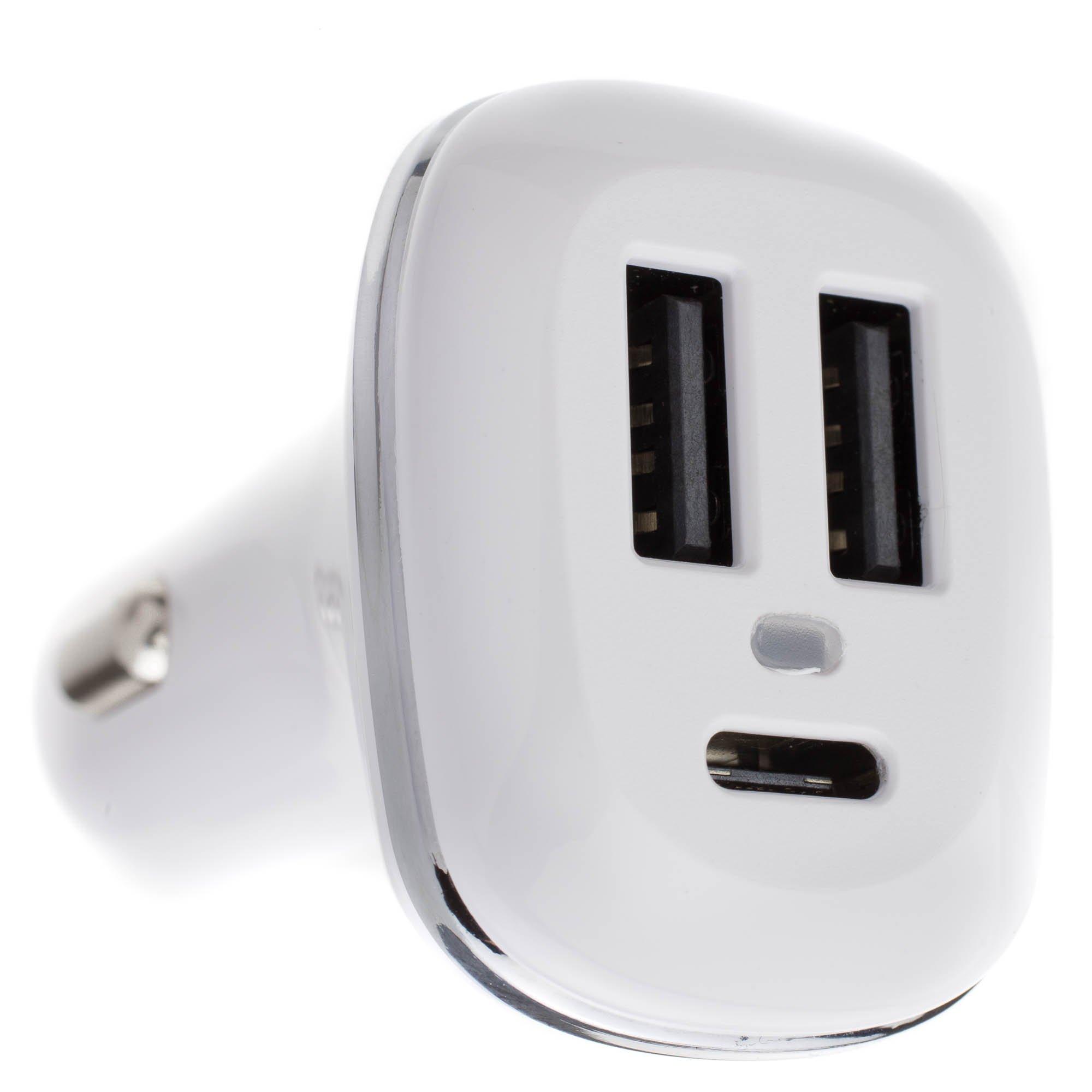 ACL 3 Port USB Car Charger, 1 x USB C and 2 x USB A, 5V 5.1A, Cigarette Lighter Plug, 10 Pack