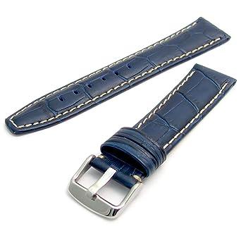 1e60b928e Super Padded Croc Grain Leather Watch Strap Contrast Stitched 24mm Blue