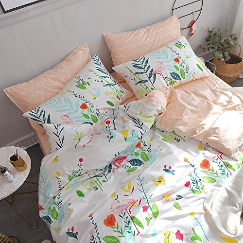 HIGHBUY Cotton Full Comforter Cover for Kids Girls White Peach Floral Flamingo Leave Printing Reversible Fresh Design Queen Bedding Sets for Children Boys with Chevron Stripe Pattern,Zipper Closure by HIGHBUY (Image #3)