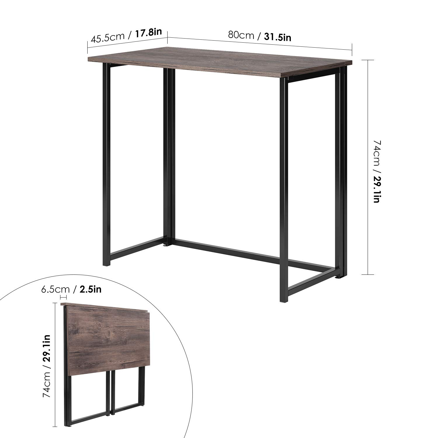 HOMFA Folding Laptop Table, Writing Computer Notebook Desk, Modern Simple Industrial Style TV Tray Bed/Sofa Side Study Table, Space Saving Furniture for Home Office by Homfa (Image #2)
