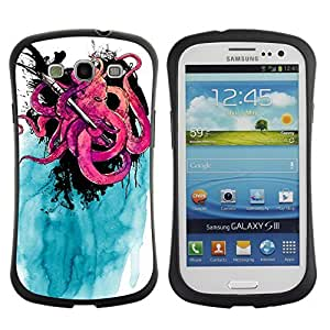 Hybrid Anti-Shock Bumper Case for Samsung Galaxy S3 / Cool Octopus & Ink painting