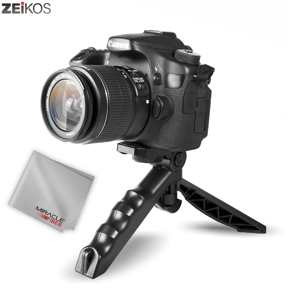 Zeikos Mini Tripod Tabletop Stand w/Soft Pistol Grip Set, Comes with Bluetooth Remote Control Camera Shutter, Smartphone - GoPro Mount + Free MiracleFiber Microfiber Cleaning Cloth