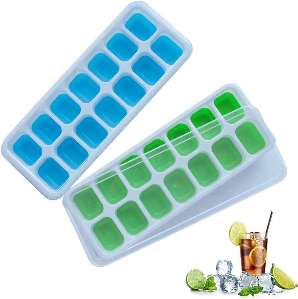 frdzsw 2 Pack Silicone Ice Cube Trays, Ice Cube Moulds with Spill-Resistant Removable Lids, LFGB Certified,Stackable Easy Release,Best Ice Trays for Freezer, Whiskey, Cocktail