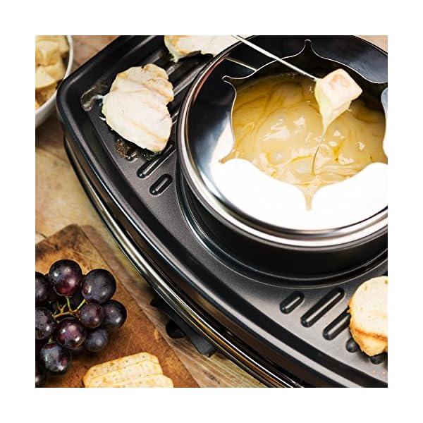 Klarstein Entrecôte - Raclette-Grill & Fonduta 2in1, 1100 W, 2in1: Piastra in Metallo & Pietra Naturale, Elemento… 3