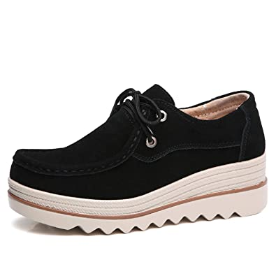 tqgold Mujer Mocasines Plataforma Casual Loafers Primavera Verano Otoño Zapatos de Cuña 5.5cm(Negro,39 EU: Amazon.es: Zapatos y complementos