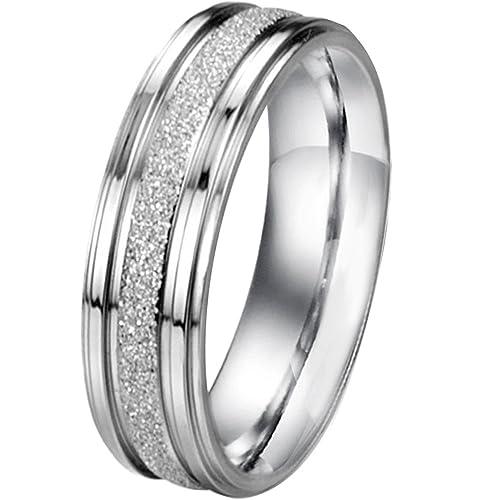 Amazon.com: Hombres clásico de la mujer anillo acero ...