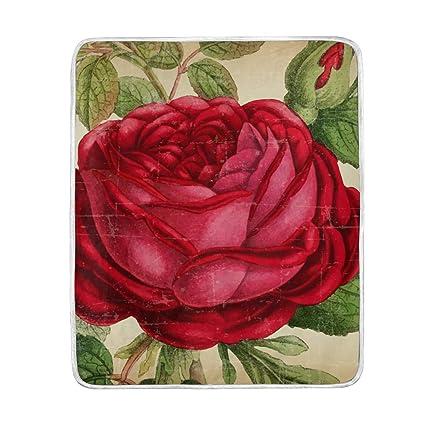 Amazon Com Lilibeely Ultra Soft Microplush Velvet Vintage Rose