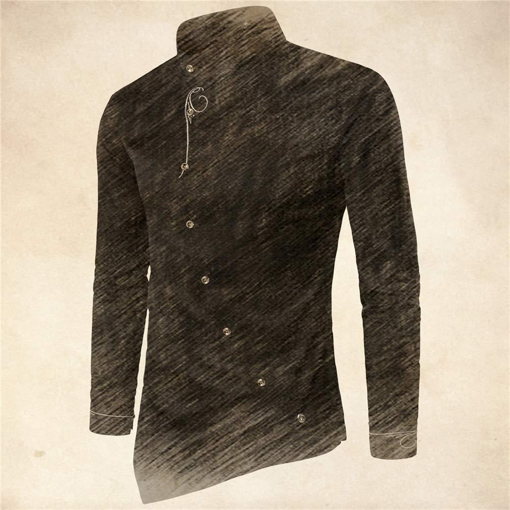 CXILIN Shirt Fashion Mens Personality Diagonal Button Irregular Multi-Color Shirt