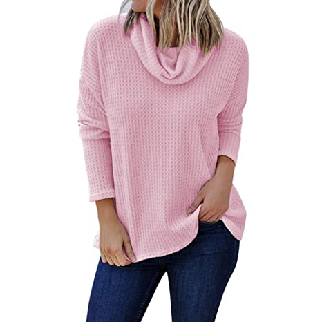03c5e9afb Women's Turtleneck Long Sleeve Casual Loose T-Shirt Dress Solid ...