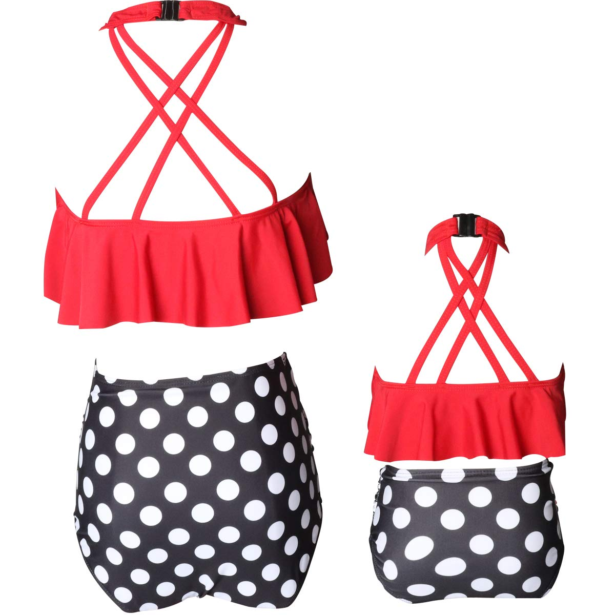 Tsun Women Two Piece Swimsuit Baby Girl Bikini Swimsuit Amily Matching Mommy Girl Swimwear