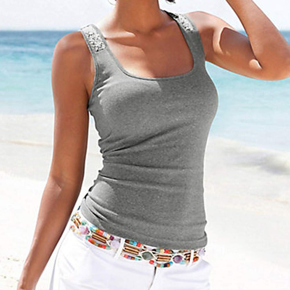 Women Tank Tops Sleeveless Solid Shirt Sequin Splice Plus Size Casual Vest Tunic Tops Blouse (L, Gray) by Yihaojia Women Blouse (Image #2)