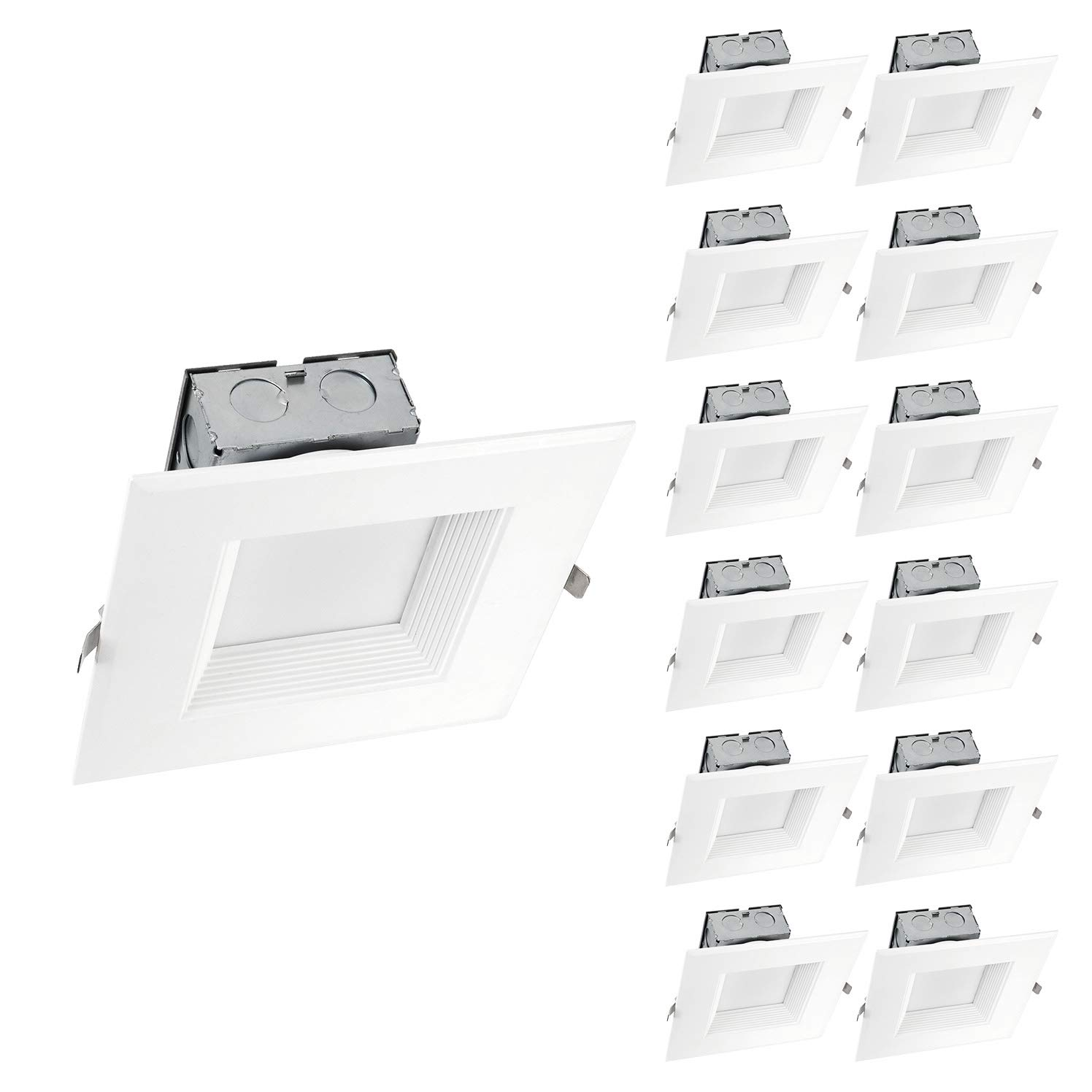 OSTWIN (12 Pack) 6 inch IC Rated Square LED Ceiling Recessed Downlight Kit With Junction box, Baffle Trim, Dimmable, 15W (120Watt Repl) 5000K Daylight, 1000Lm. No Can Needed ETL and Energy Star Listed