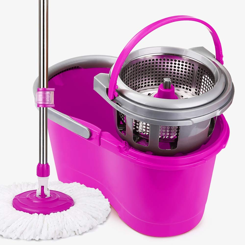 Wring out the mop Rotating Mop - Drowning Automatic Mop Bucket Rotating Mop Free Hand Wash Mop Home One Drag Net Lazy Mopping Artifact (color : Purple, UnitCount : 3 mop heads)