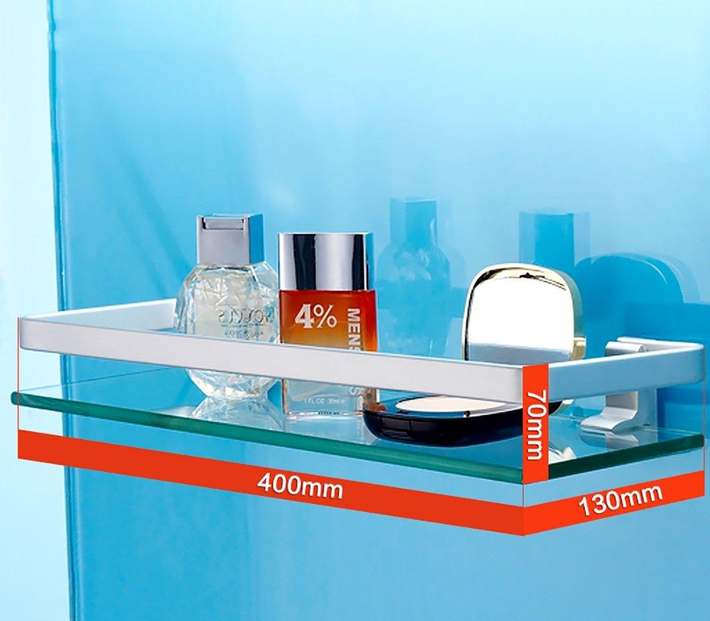 Bathroom Shelves Bathroom Shelf Space Aluminum Bathroom Washing Machine Mirror Front Shelf Bathroom Walls Single Glass Frame Bathroom racks (Size : 40cm)