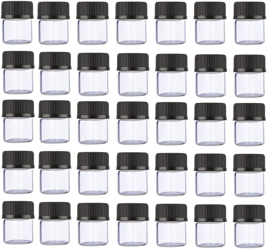 ELFENSTALL 100PCS 1ML 1/4 Dram Mini Clear Glass Essential Oils Sample Bottles with Black Caps for Essential Oils,Chemistry Lab Chemicals, Perfumes. 2X 1ML Plastic droppers