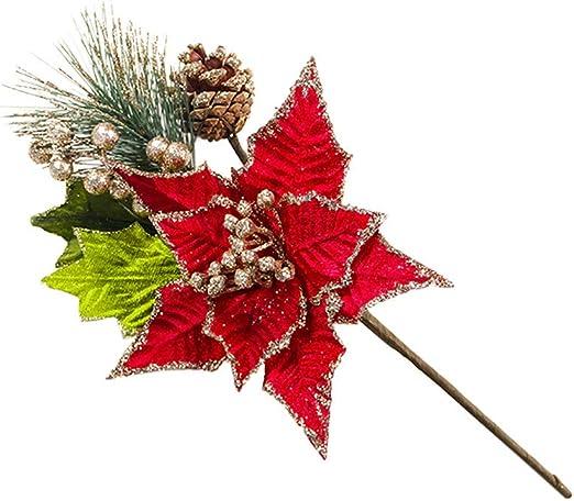 Wedding Favors Christmas Tree Flowers Glitter Ornament Poinsettia  Xmas Gift