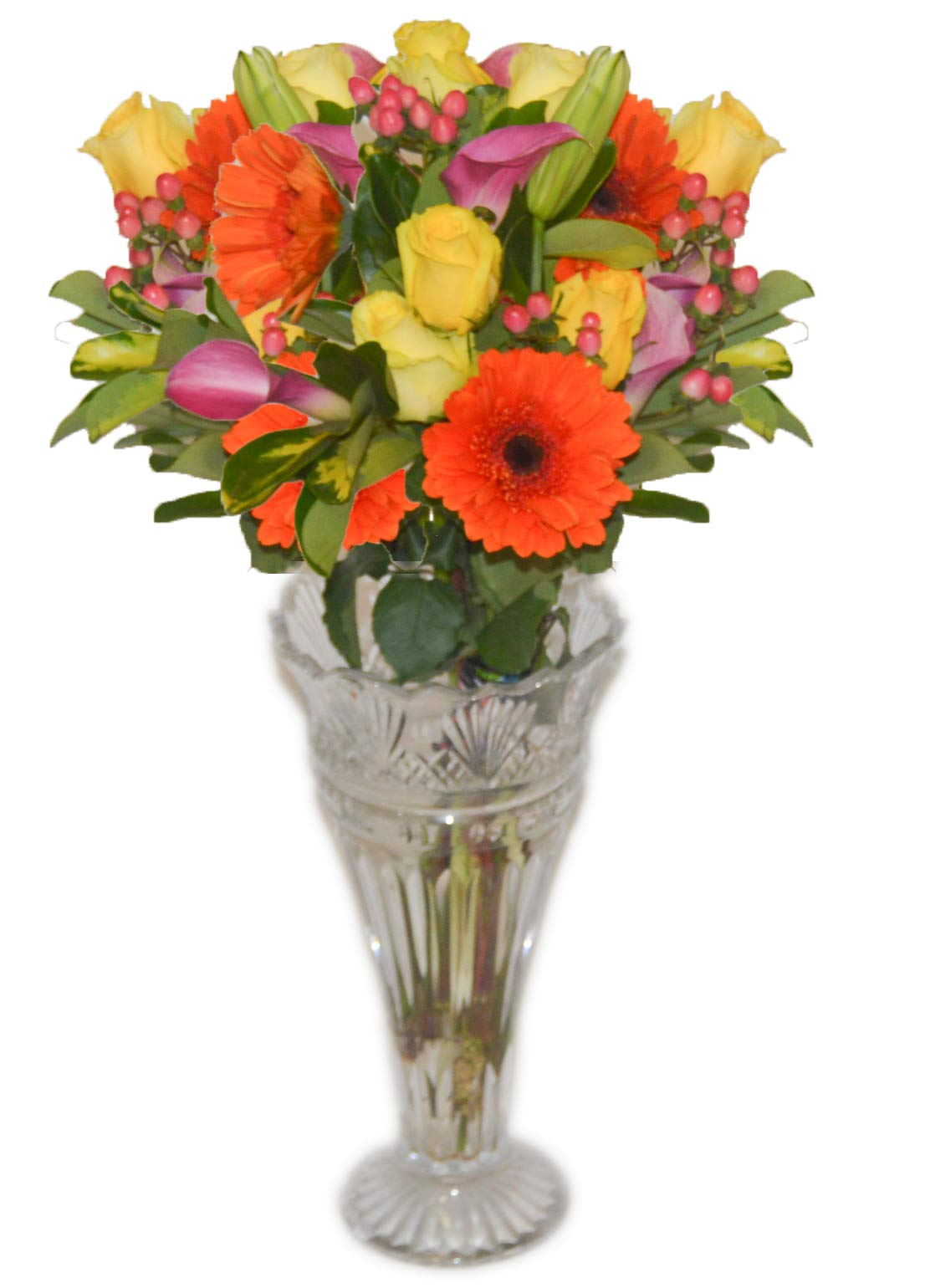 Fresh Flowers Bouquet - Roses, Gerbera, Calla Llily | Free Delivery by The Flowers Empire