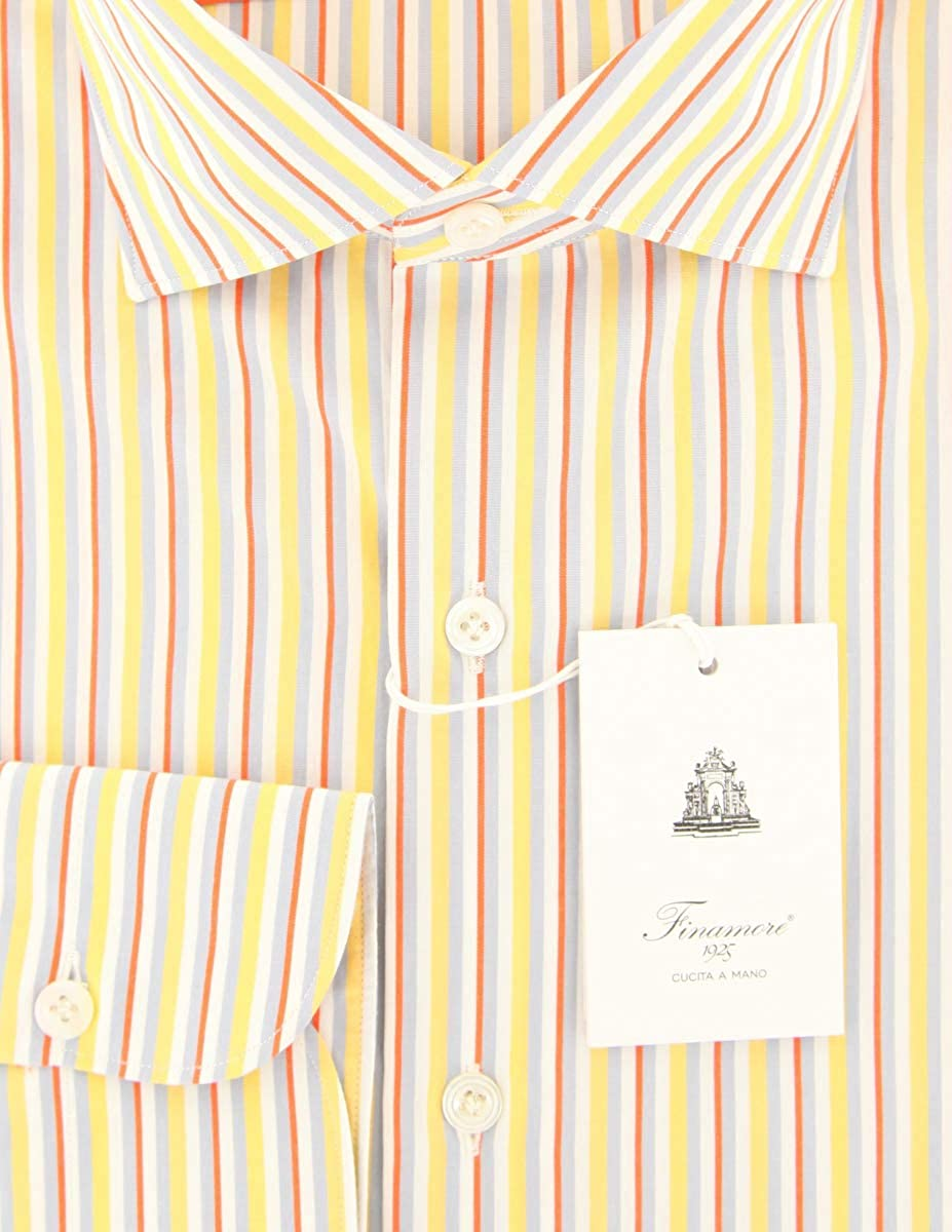 Finamore Napoli Orange Stripes Button Down Spread Collar Cotton Slim Fit Dress Shirt Size Medium 15.5