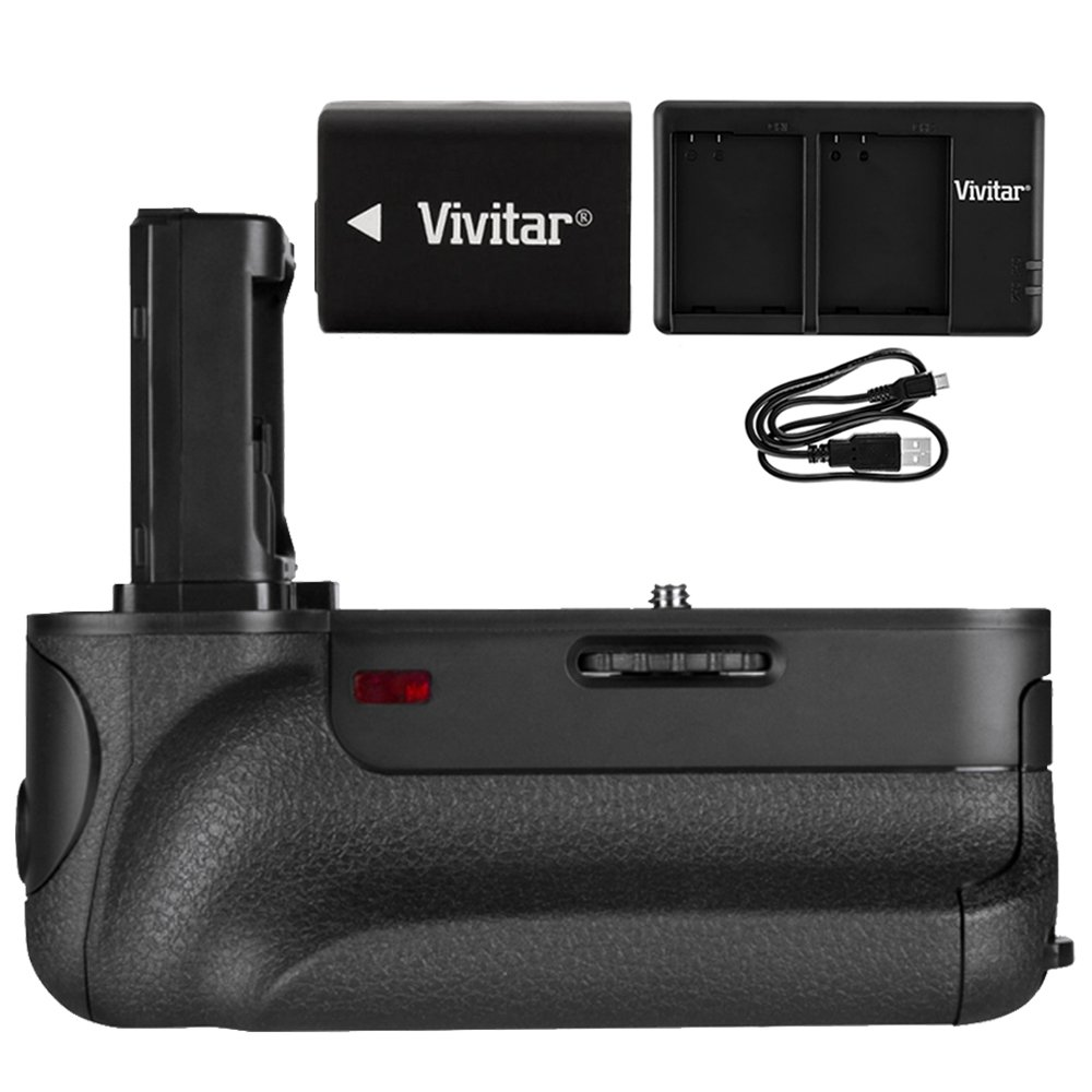 Vivitar PG-A7II Battery Grip (VIV-PG-A7II) for Sony A7, A7R, A7II, A7SII w/ Accessories Bundle Includes, InfoLithium H Series NP-FW50 Camera battery & USB Dual Port Charger for Sony NP-FW50 battery