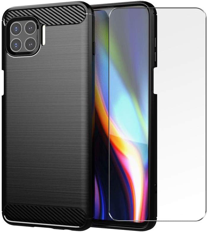 PZEMIN Caso para Motorola Moto G 5G Plus Funda Silicona TPU Fibra de Carbono Suave Estuche (6.7