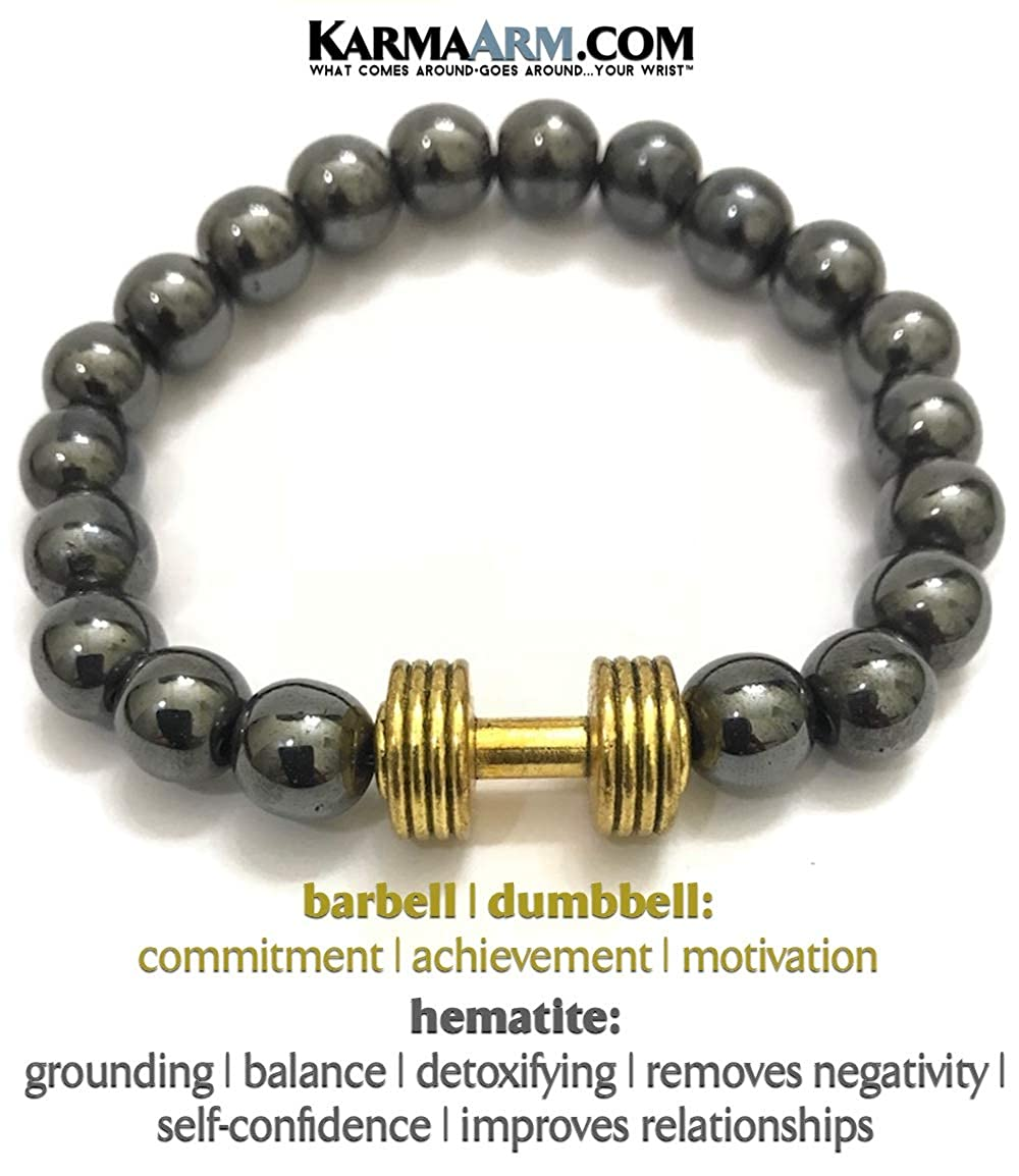 Hematite KarmaArm Fitness Bracelets Ambition Barbell Dumbbell Yoga Chakra Motivation Bracelet
