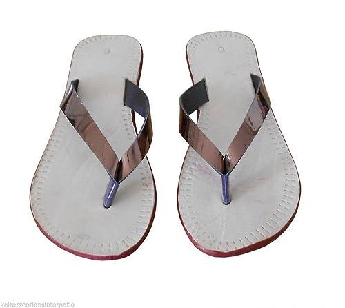 kalra Creations Mujer Tradicional Indio Piel Slipper Chancleta: Amazon.es: Zapatos y complementos