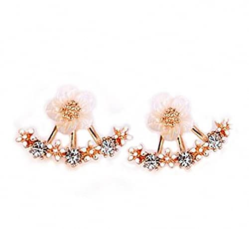 megko Fashion Lady claro cristal Daisy flor oreja Jacket Pendientes Back oído puños pendientes de presión: Amazon.es: Joyería