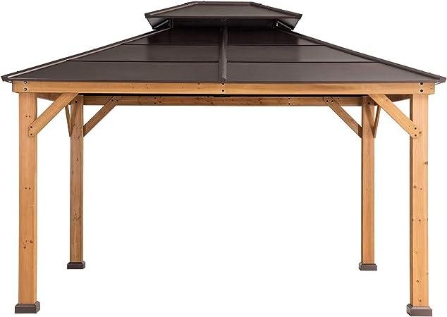 Amazon Com Sunjoy A102008600 Chapman 10x12 Ft Cedar Framed Gazebo With Steel 2 Tier Hip Roof Hardtop Brown Garden Outdoor