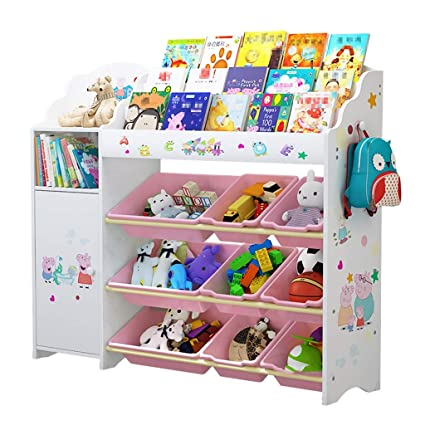 Childrens Toy Storage Rack Baby Bookshelf Cabinet Room Finishing Student Bookcase