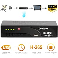 Decoder Digitale Terrestre DVB T2,Decoder TV HD Leelbox Televisione Ricevitore Full HD Scart / Dolby / Multimedia / Lecteur H.265 / MPEG-2/4 Nero