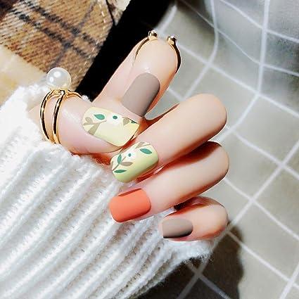 24 piezas de uñas postizas mate parche de arte de uñas con ...