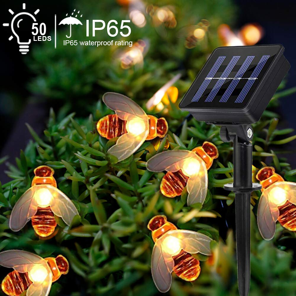 in stock 198e1 ee63e Suplong Solar String Lights 50LED 7.5M Outdoor Waterproof Simulation Honey  Bees Fairy Lights, Indoor Outdoor Solar Decoration Lights for Gardens, ...