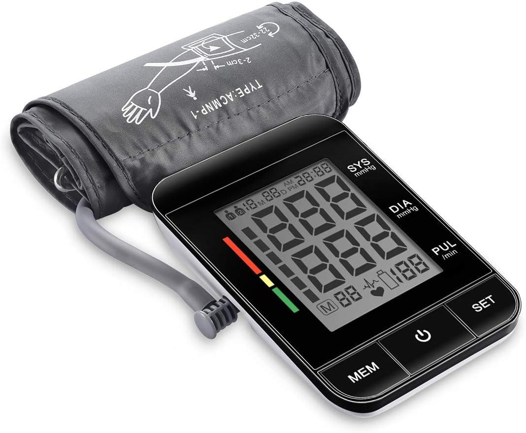 Tensiómetro de Brazo Digital, Monitor de Presión Arterial con Detección del Pulso Arrítmico Tensiómetro de Brazo Electrónico Arterial Función de Memoria, 22-42 cm Largo ManguitoCertificado FDA CE