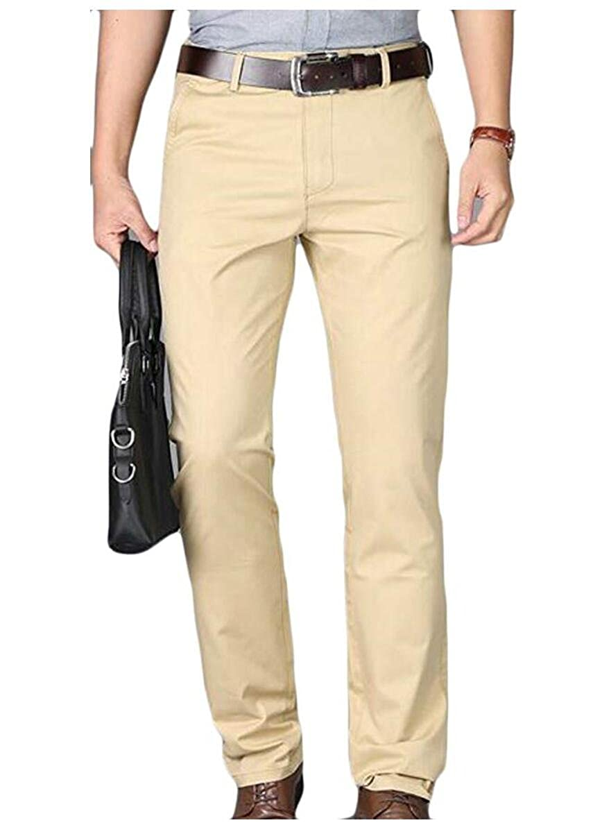 Botong Men's Slim Fit Tapered Stretchy Casual Pants Wrinkle-Resistant Flat Front Suit Pants