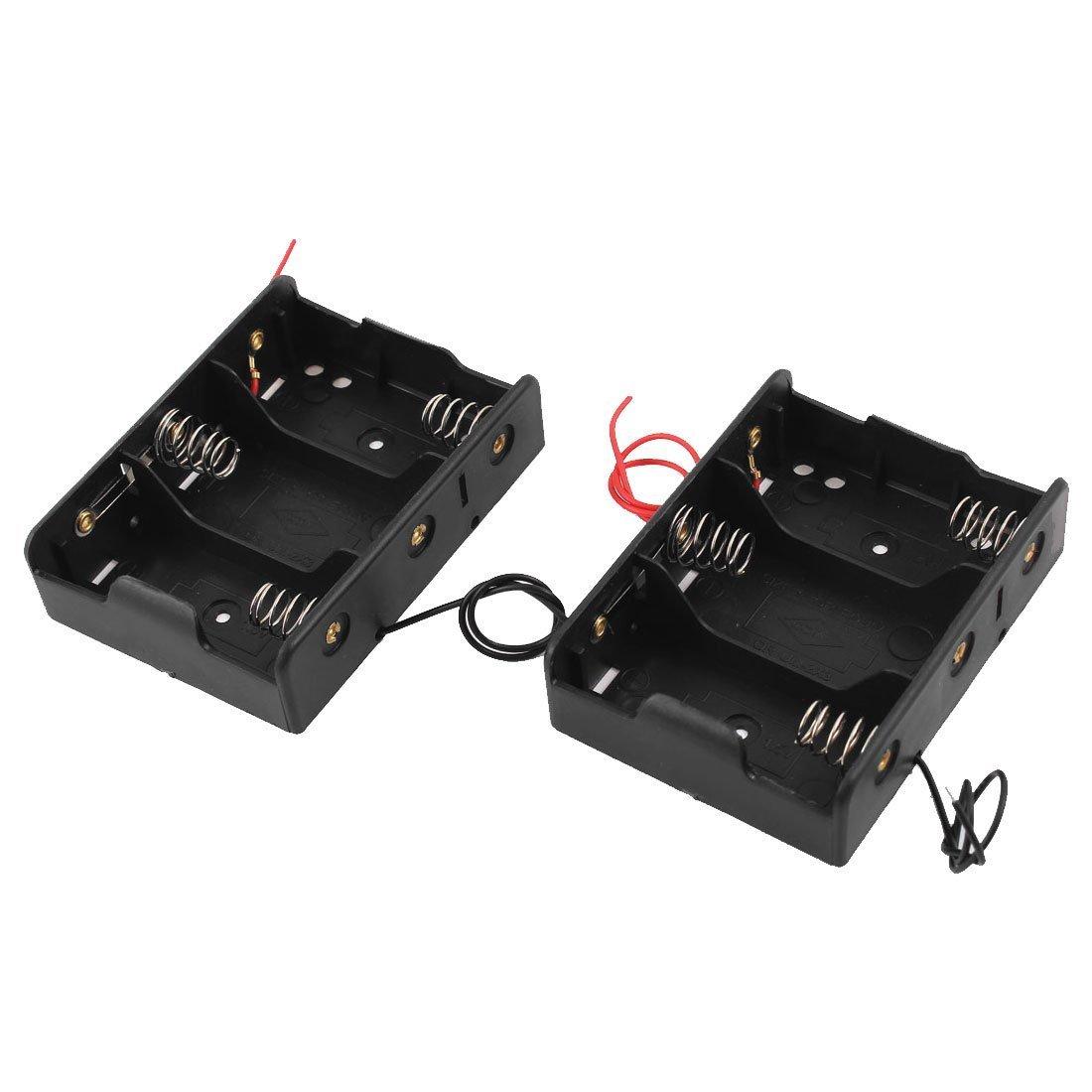 Battery Holder Case for 3 x C 1.5V Batteries - TOOGOO(R) Black Plastic Battery Holder Case 2 Pcs for 3 x C 1.5V Batteries