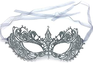 iMapo Masquerade Mask with Rhinestones, for Mardi Gras Masks for Women Lady, Halloween Christmas Cosplay Venetian Party Prom Ball Lace Eye Masks - Silver