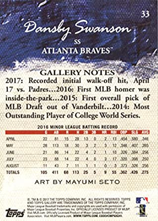 Amazon.com: 2017 Topps Gallery #33 Dansby Swanson Atlanta Braves Rookie Baseball Card: Collectibles & Fine Art