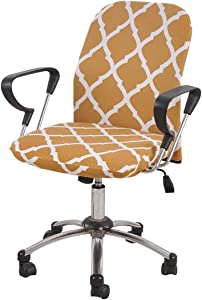 YUER Office Chair Cover Armchair Slipcover Polyester Removable Stretch Computer Chair Protector Cover Yellow