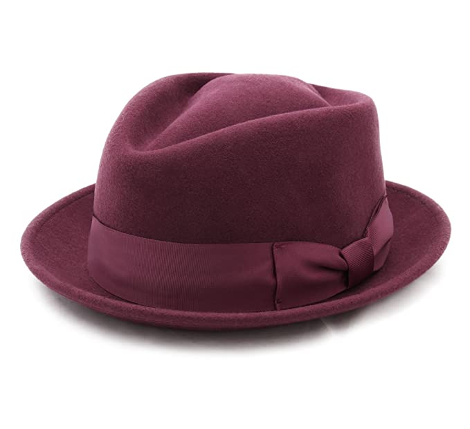 4327a806 Nativos - Trilby Hat Wool Felt Men Diamond Stingy - Size L - Bordeaux