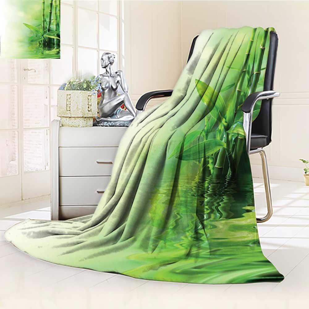 YOYI-HOME Warm Microfiber Duplex Printed Blanket Bamboo Stalks Reflection On Water Blurs Freshness Japanese Decorative Zen Spa Anti-Static,2 Ply Thick,Hypoallergenic/W39.5'' x H59