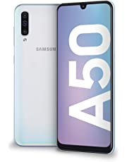 "Samsung Galaxy A50 Display 6.4"", 128 GB Espandibili, RAM 4 GB, Batteria 4500 mAh, 4G, Dual SIM Smartphone, Android 9 Pie, (2019) [Versione Italiana], White"