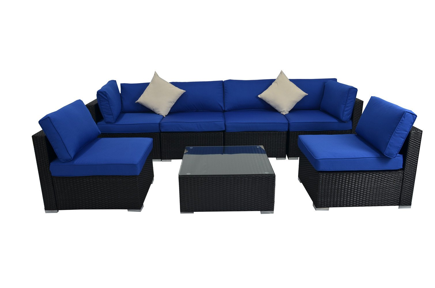 Patio Outdoor Christmas Party Sofa PE Black Rattan Furniture Set 7pcs Garden Wicker Patio Furniture Royal Blue Cushion Sectional Sofa Conversation Sets - Patio Garden Sofa★Appearance style★Sofa have Royal Blue cushions allow for further comfortable and better support while you sit than a traditional cushions, and the Turquoise color contrasts stylishly with the black finish of the resin wicker,Fashion color matching creating a whole new look and feel for your patio Patio Furniture Set★Rearrange to Any Formation★lock them up in any formation adding fun to place your furniture,Provide stylish and comfortable lounging to Conversation Outdoor Rattan Sofa★Easy to Clean★Washable cushion covers made from 250g outdoor water resistant polyester cloth for easy cleanin - patio-furniture, patio, conversation-sets - 61WaMm7m4XL -