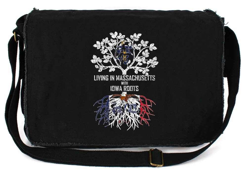 Tenacitee Living In Massachusetts with Iowa Roots Grey Brushed Canvas Messenger Bag
