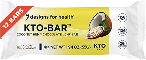 Designs for Health KTO-BAR Keto Protein Bars – High Fat, 2g Net Carbs,10g Vegetarian Protein – Keto Friendly Snacks – Coconut Chocolate – Non-GMO and Gluten Free 12-Pack