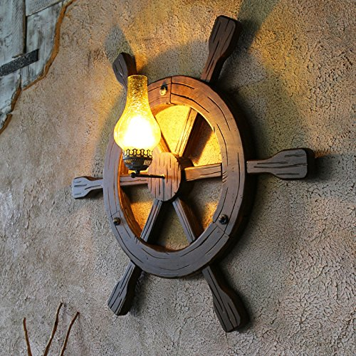 Archaize Originality Solid Wood Wall Lamp Mediterranean Anchor Rudder Retro Wall Light For Restaurant Coffee House 940940Mm,C Outdoor Kids Living Room Bedroom Wedding Birthday Party Gift by GAW Lighting Co.Ltd