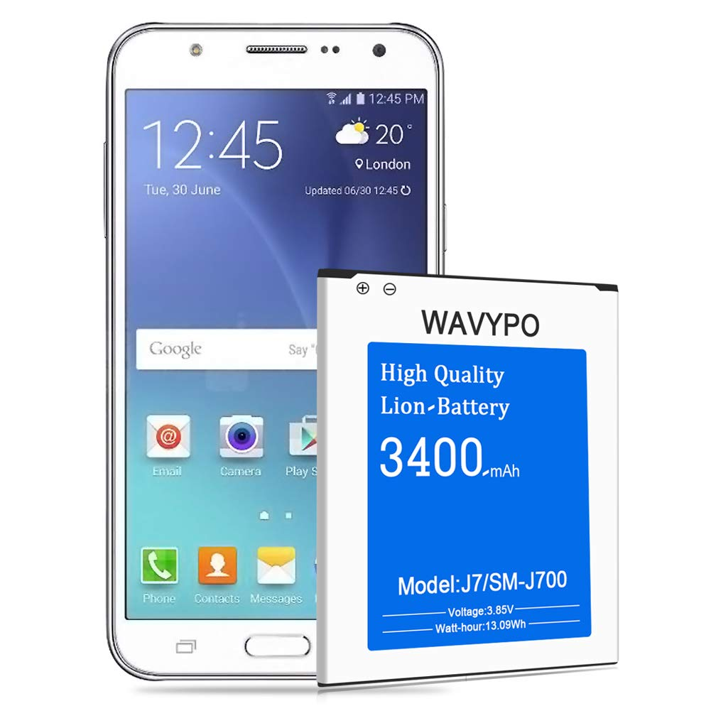 (Upgraded) Wavypo Galaxy J7 Battery, 3400mAh Replacement Battery for Samsung Galaxy J7 SM-J700 (2015 Ver), EB-BJ700BBC/ EB-BJ700BBU, J700H, J700P, J700T, J700T1, J700M [24 Month Warranty] by Wavypo