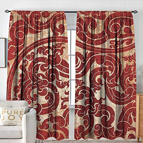 - Living Room Curtains Antique,Thai Culture Vector Abstract Background Flower Pattern Wallpaper Design Artwork Print,Ru,Darkening and Thermal Insulating Drapes 54